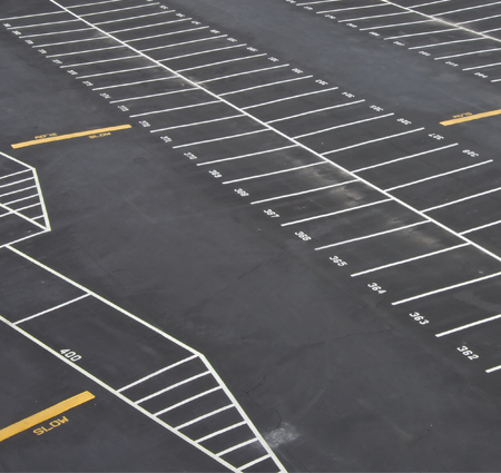 Parking Lot with New Painted Lines in Newark, NJ